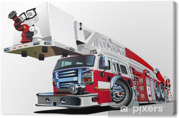 Tableau sur toile Camion de pompiers Vector cartoon - Sur la route