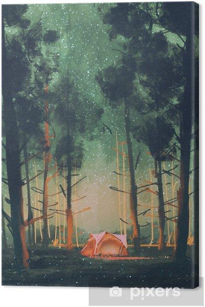 Tableau sur toile Camping en forêt la nuit avec des étoiles et des lucioles, illustration, peinture numérique - Passe-temps et loisirs