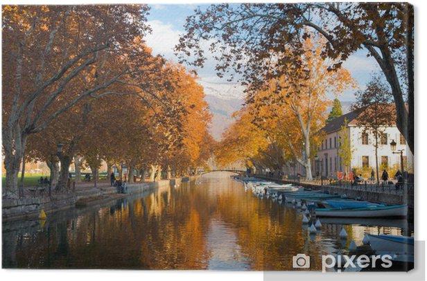 Tableau sur toile Canal Annecy Couleurs d'automne - Europe