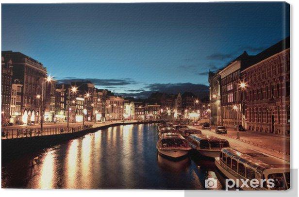 Tableau sur toile Canaux d'Amsterdam dans la nuit - Villes européennes