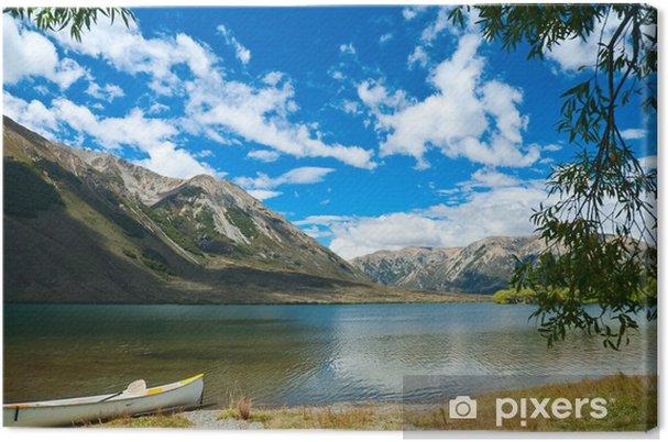Tableau sur toile Canoe par le lac - Vacances