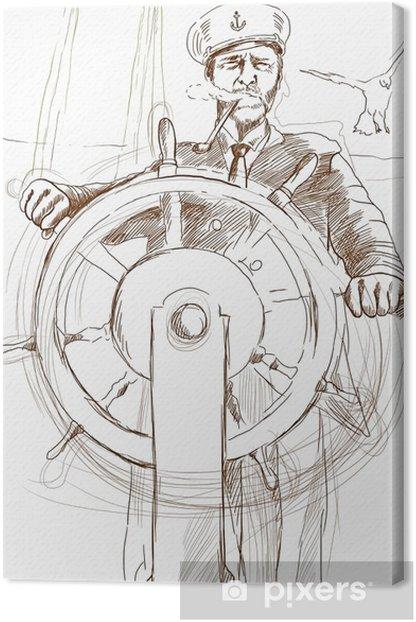 Tableau Sur Toile Capitaine De La Marine Dessin A La Main Pixers Nous Vivons Pour Changer