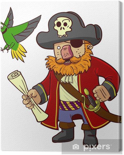 Tableau sur toile Capitaine pirate et le perroquet -