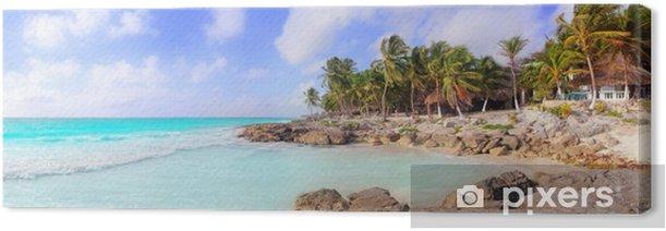 Tableau sur toile Caraïbes Tulum Mexique tropical Plage panoramique - Amérique