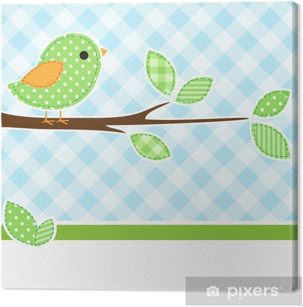 Tableau sur toile Carte avec l'oiseau sur la branche avec fond de textile. - Oiseaux