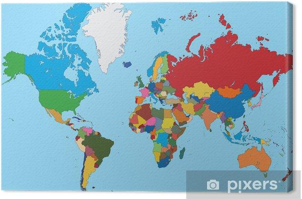 Tableau sur toile Carte colorée de monde - Thèmes