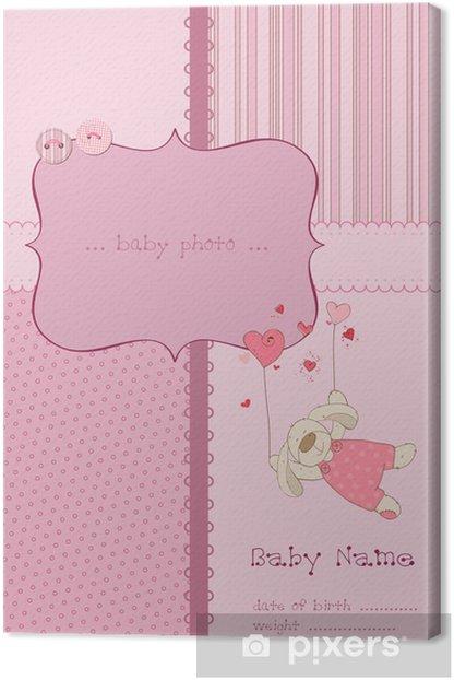 Tableau sur toile Carte d'arrivée de bébé avec cadre photo et le lieu de votre texte - Célébrations