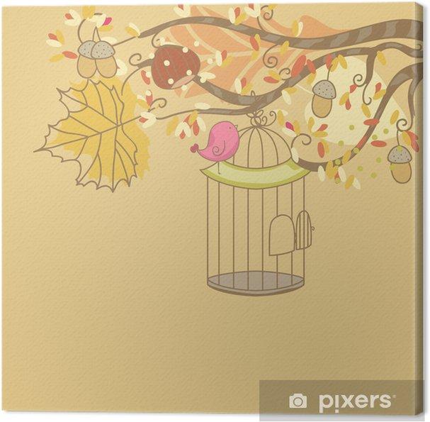 Tableau sur toile Carte d'automne avec des oiseaux et cage à oiseaux - Saisons