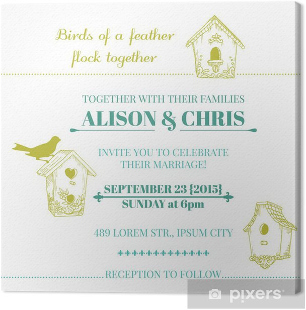 Tableau sur toile Carte d'invitation de mariage de cru - dans le vecteur - Célébrations