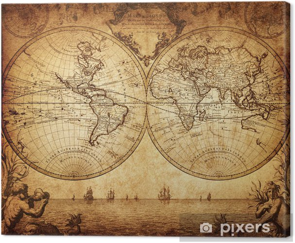 Tableau sur toile Carte de cru du monde 1733 - Thèmes