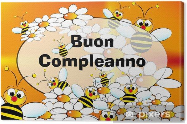 Tableau Sur Toile Carte De Joyeux Anniversaire Italien