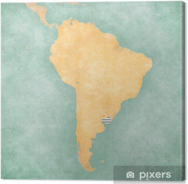 Carte Amerique Latine Uruguay.Tableau Sur Toile Carte De L Amerique Du Sud Uruguay Vintage