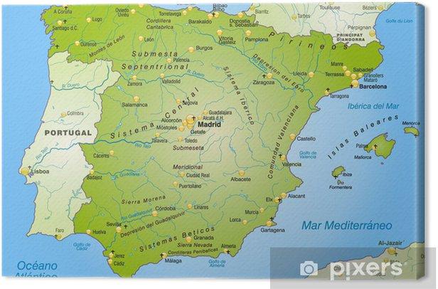 Tableau sur toile Carte de l'Espagne avec les capitales - Thèmes