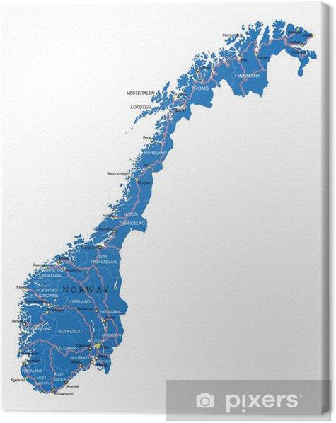 Tableau sur toile Carte de la Norvège - Asie