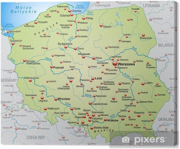 Tableau sur toile Carte de la Pologne avec les pays voisins - Thèmes