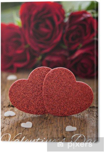 Tableau sur toile Carte de voeux avec le coeur et les roses - Fêtes internationales