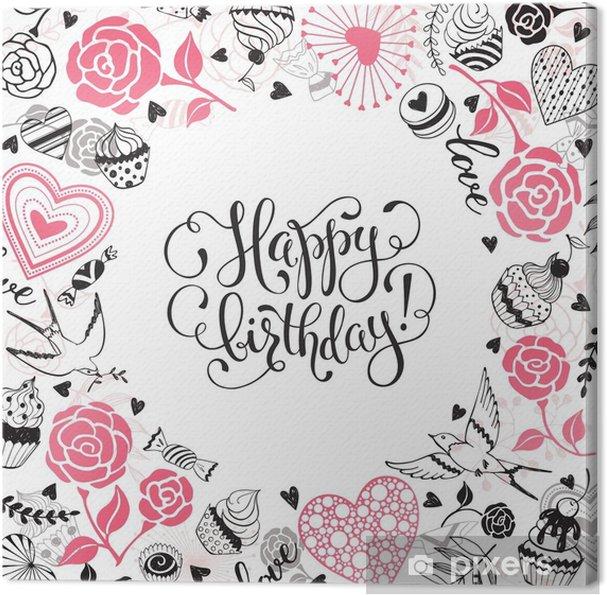 Carte Anniversaire Romantique.Tableau Sur Toile Carte De Voeux Joyeux Anniversaire Cadre Cercle