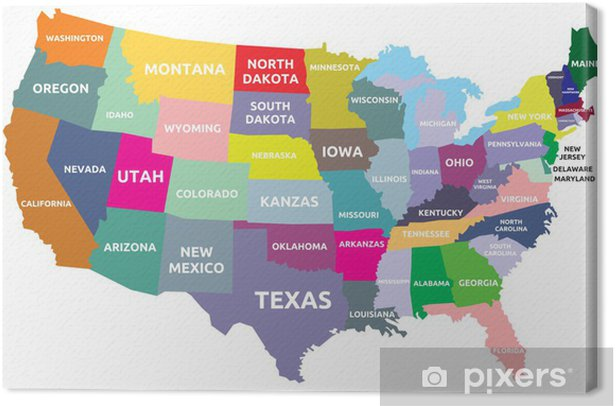Tableau sur toile Carte des Etats Unis avec les Etats - Thèmes