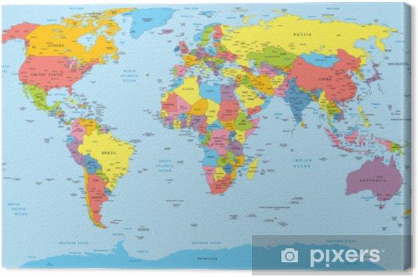 Tableau Sur Toile Carte Du Monde Avec Noms De Pays Pays Et Ville