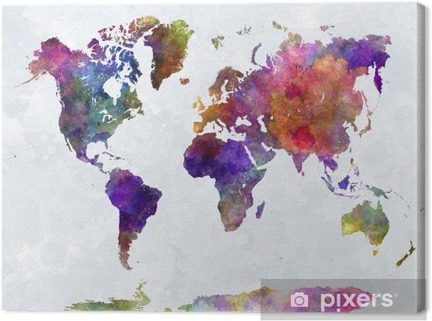 Tableau sur toile Carte du monde dans watercolorpurple et bleu -