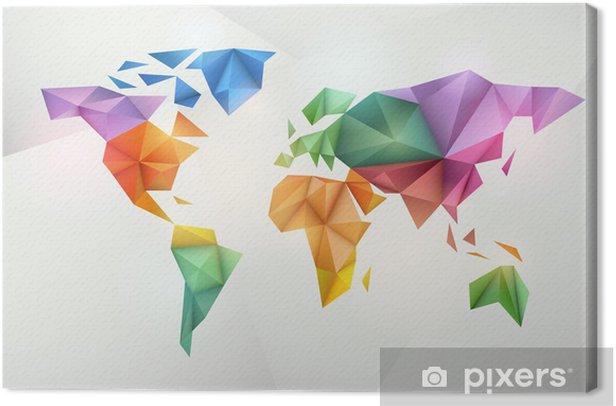 Tableau sur toile Carte du monde de fond dans le style origami. - Pour enfant de 5 ans