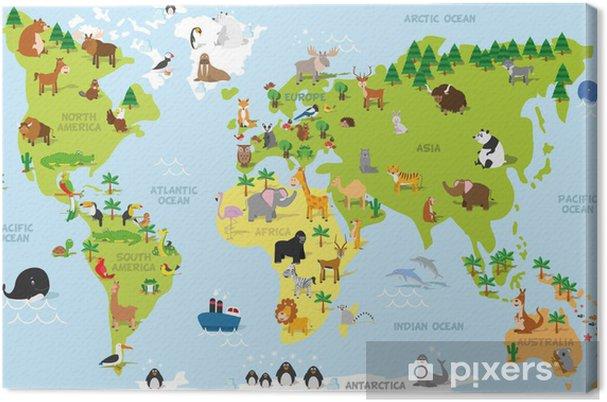 Tableau sur toile Carte du monde drôle de bande dessinée avec des animaux traditionnels de tous les continents et les océans. Vector illustration pour l'éducation et les enfants d'âge préscolaire conception - PI-31