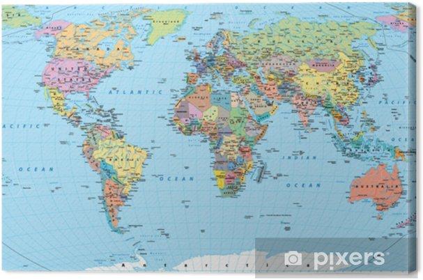 Tableau Sur Toile Carte Du Monde En Couleur Frontières Pays Routes Et Villes