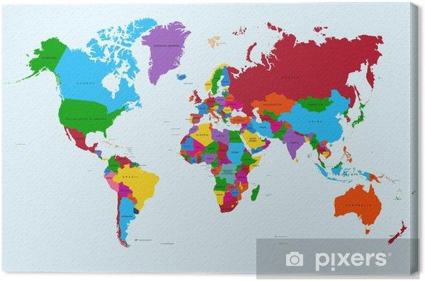 Tableau sur toile Carte du monde, pays coloré atlas fichier vectoriel EPS10. - Thèmes