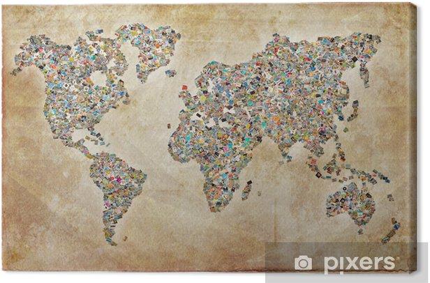 Tableau sur toile Carte du monde photos, texture vintage - Thèmes