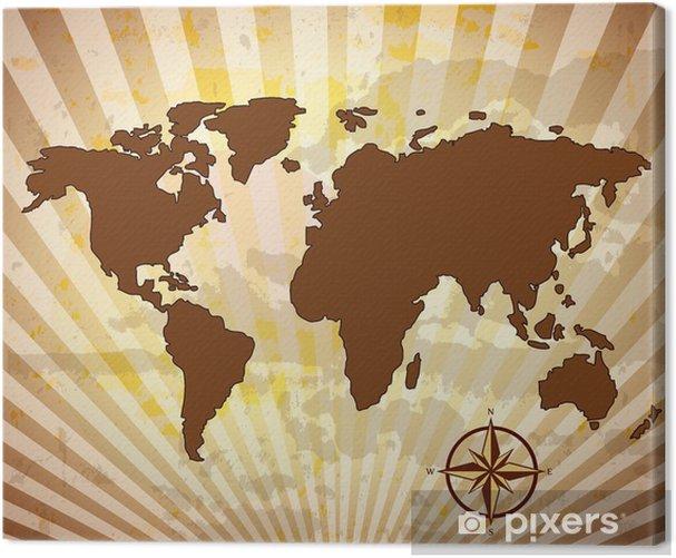 Tableau sur toile Carte du monde sale avec boussole - Vacances