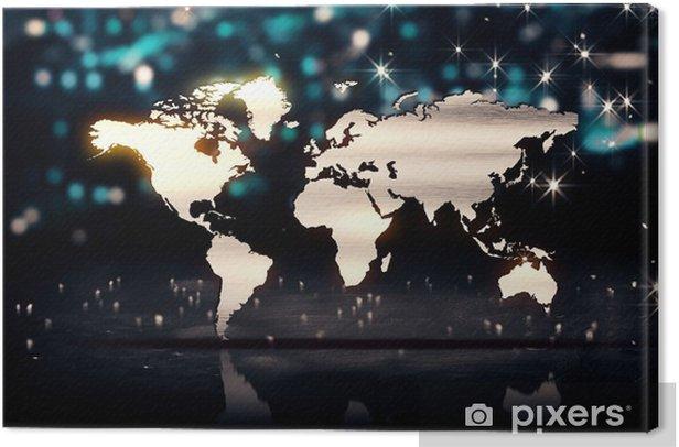 Tableau sur toile Carte du monde Silver City lumière brille Contexte Bokeh 3D - Concepts