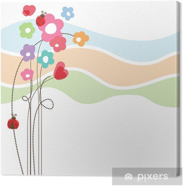 Tableau sur toile Carte mignonne d'amour floral - Célébrations