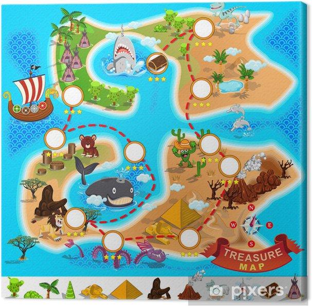 Carte Au Tresor Pirate.Tableau Sur Toile Carte Pirate Tresor