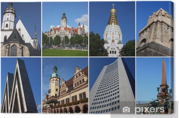 Tableau sur toile Carte postale leipzig avec des attractions - Europe