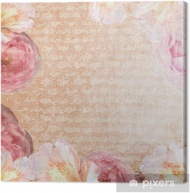 Tableau sur toile Carte vintage avec des roses dans des couleurs roses et beiges - Évènements nationaux