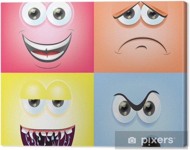 Tableau sur toile Cartoon faces avec des émotions - Bonheur