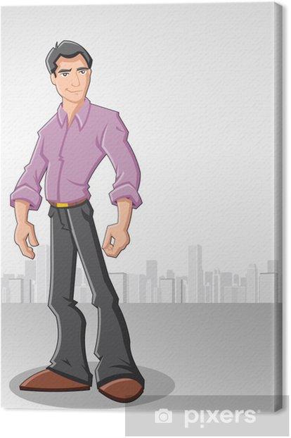 Tableau sur toile Cartoon homme portant chemise pourpre avec la ville sur le fond - Au travail