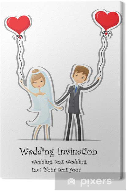 Tableau sur toile Cartoon photographie de mariage, invitation - Célébrations