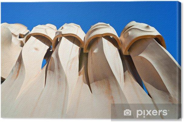 Tableau sur toile Casa Mila, également connu sous la carrière de pierre, Barcelone, Espagne. - Villes européennes