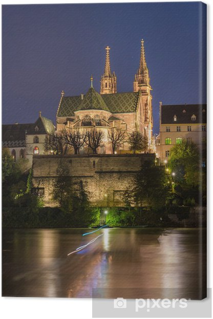 Tableau sur toile Cathédrale de Bâle sur le Rhin par nuit - Suisse - Europe