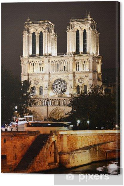 Tableau sur toile Cathédrale Notre-Dame à Paris, en France par nuit - Villes européennes
