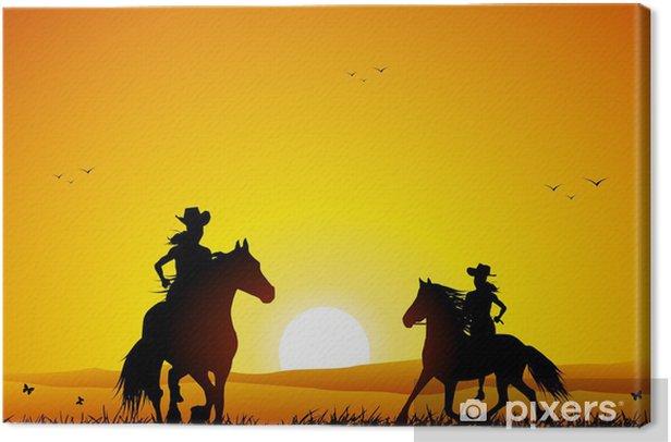 Tableau sur toile Cavalier et cheval au coucher du soleil - Sports individuels