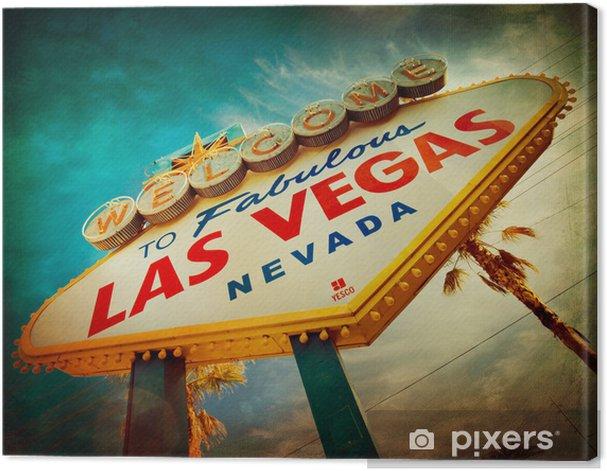Tableau sur toile Célèbre Bienvenue à Las Vegas signe avec la texture de cru - Las Vegas