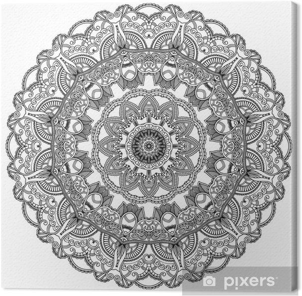 Tableau sur toile Cercle de dentelle noire sur fond blanc. Ornement mandala - Sticker mural