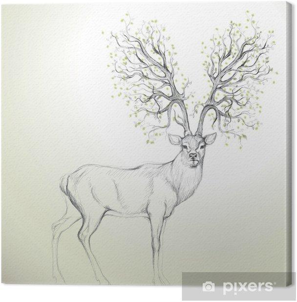 Tableau sur toile Cerf avec Antler comme arbre / croquis réaliste - Styles
