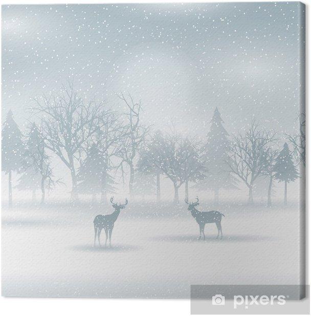 Tableau sur toile Cerf dans un paysage d'hiver - Thèmes