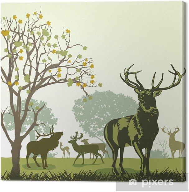 Tableau sur toile Cerf et au gibier à l'automne - Thèmes
