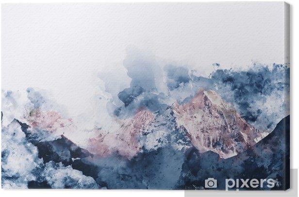 Tableau sur toile Chaînes de montagnes abstraites dans la lumière du matin, aquarelle numérique p - Paysages