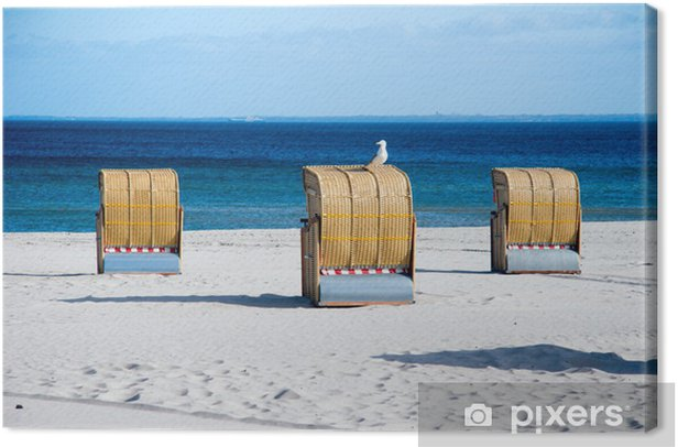 Tableau sur toile Chaise de plage avec mouette - Vacances