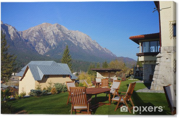 Tableau sur toile Chalet de montagne avec une vue panoramique - Propriétés privées